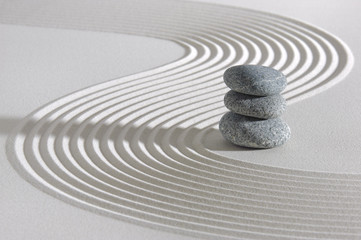 Japanese ZEN garden with stacked stones