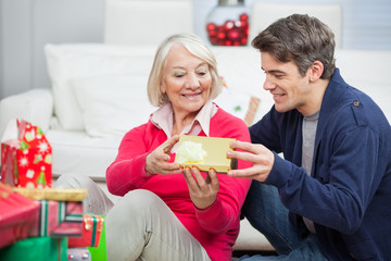 Son Giving Christmas Gift To Mother