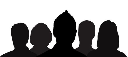 petit groupe - silhouette de cinq personnes
