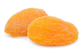 Two dried apricot fruits isolated on white background