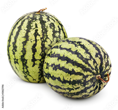 Two ripe watermelons berry isolated on white with clipping path