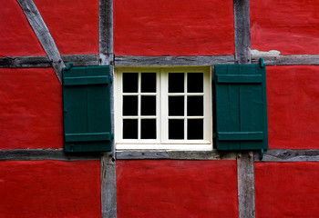 Window with shutters of farmhouse