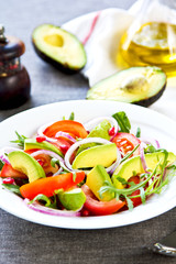 Avocado with Pomegranate and Rocket salad