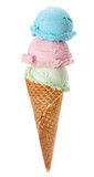 Colorful Ice Cream Cone with three scoops, Isolated on white