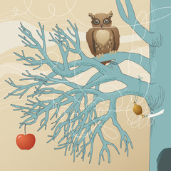 Owl on Blue Tree