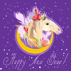 New Year card with a picture of  horse