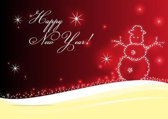 Happy New Year Frohe neues Jahr Neujahr Schneemann rot