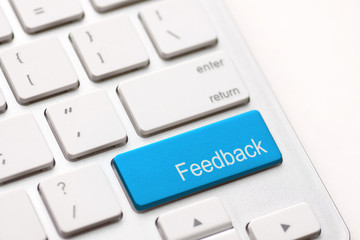 Computer key showing the word Feedback.