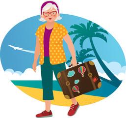 Elderly lady travels