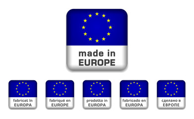 Made in Europe badge (6 languages)