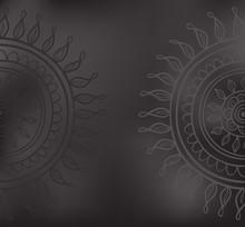 Mandala patroon zwart en grijs geïsoleerd in vector