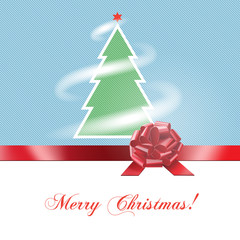 Vector  background Merry Chrystmas with ribbon and bow