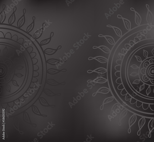 Mandala pattern black and gray isolated in vector