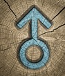 Male sex signs on wooden background