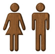 Men and Women toilet wood sign