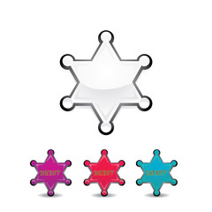 vector color sheriff star isolated on white background.