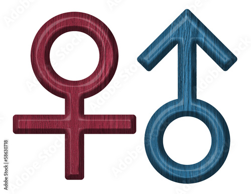 Male and female wooden signs
