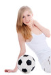 Young female sitting with soccer ball over white