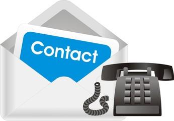 enveloppe et téléphone contact
