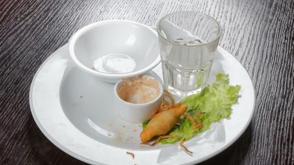 Snack for meat dinner at restaurant