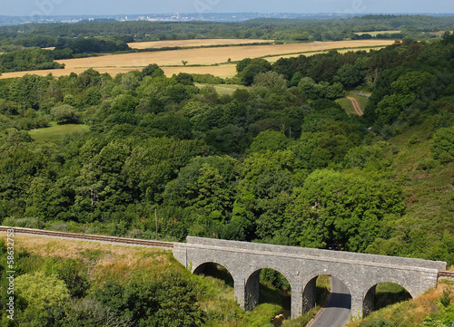Landscape countryside with railway bridge