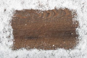 Hintergrund Schnee und Holz