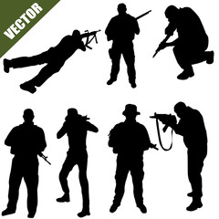 Army soldiers silhouette