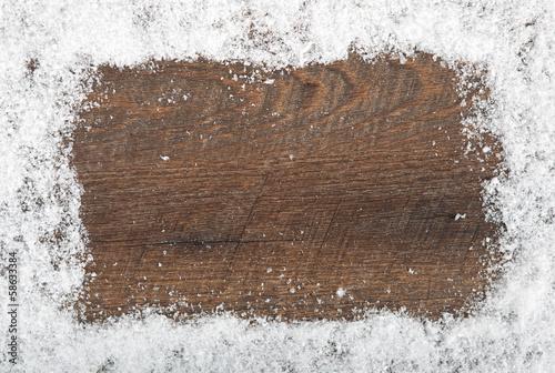 canvas print picture Hintergrund Schnee und Holz
