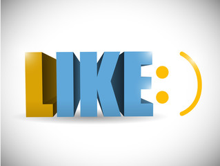 like and smile face illustration design