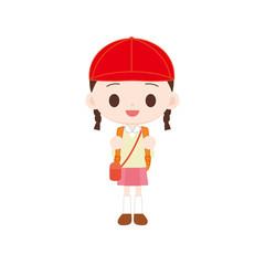 紅白帽の女の子 遠足