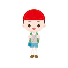 紅白帽の男の子 遠足