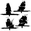 Set of silhouettes of sailing ships weather vanes.