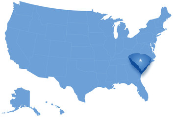 Map of the United States where South Carolina is pulled out