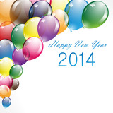 Happy New Year On Colorful Balloons