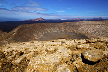 vulcanic timanfaya  rock stone and summer in los volcanes lanzar