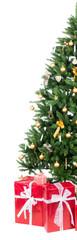christbaum mit roten weihnachtsgeschenken