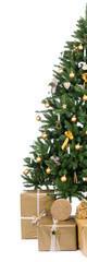 halber weihnachtsbaum mit vielen geschenken