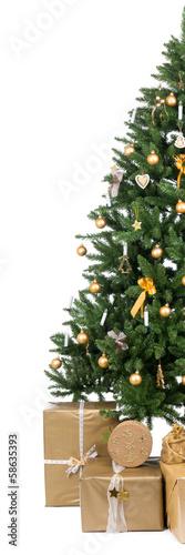 halber weihnachtsbaum mit vielen geschenken von picture. Black Bedroom Furniture Sets. Home Design Ideas