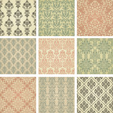 Set of nine seamless pattern in retro style. eps10
