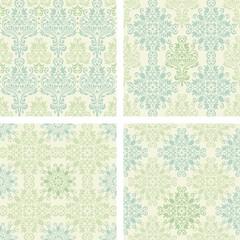 set of seamless colorful damask patterns