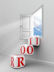 roi red word blocks to open door