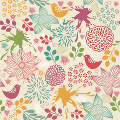 Seamless colorful floral pattern with birds