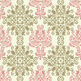 Vector seamless floral colorful damask pattern