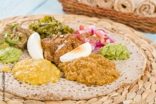 Ethiopian Feast - Injera (sourdough flatbread) with stews