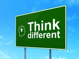 Education concept: Think Different and Head With Lightbulb poster