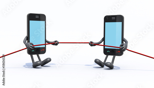 two smartphones make tug of rope