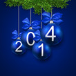 Realistic blue christmas balls with 2014.