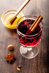 Hot wine (mulled wine) with spices and honey