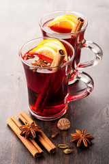 Hot wine (mulled wine) with spices