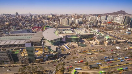 Traffic in Seoul, South Korea at the Main Station